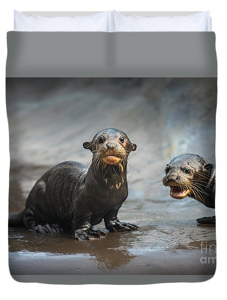 Otter Pup Pair Duvet Cover by Jamie Pham