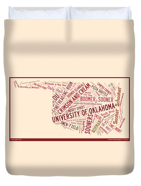 Ou Word Art University Of Oklahoma Duvet Cover by Roberta Peake