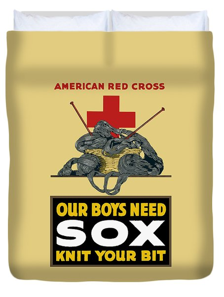 Our Boys Need Sox - Knit Your Bit Duvet Cover by War Is Hell Store