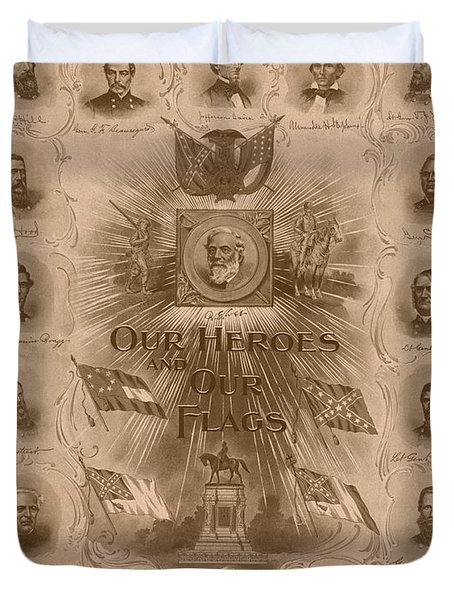 Our Heroes and Our Flags Duvet Cover by War Is Hell Store