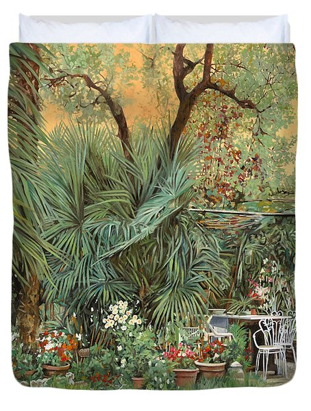 our little garden Duvet Cover by Guido Borelli