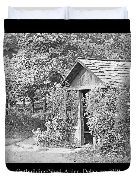 Duvet Cover featuring the photograph Outbuilding, Shed Arden Delaware 1919 by A Gurmankin