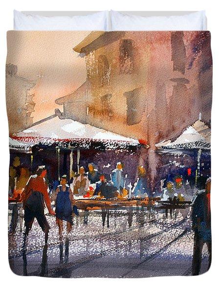Outdoor Market - Rome Duvet Cover by Ryan Radke