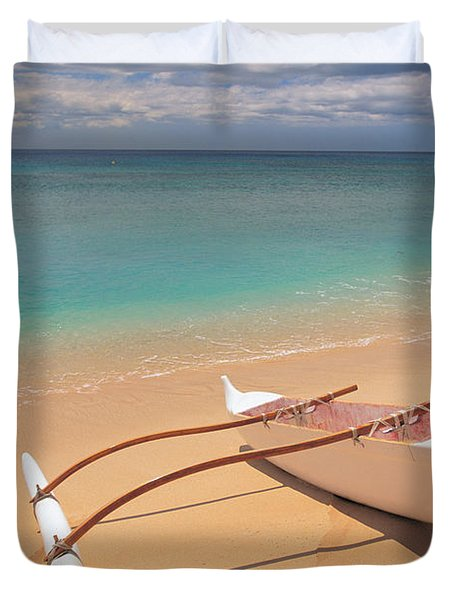 Outrigger on Beach Duvet Cover by Dana Edmunds - Printscapes