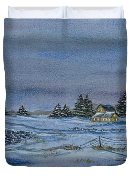 Over The Bridge And Through The Snow Duvet Cover by Charlotte Blanchard