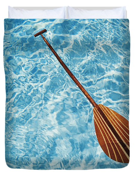 Overhead View Of Paddle Duvet Cover by Joss - Printscapes