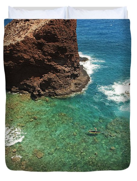 Overlooking Puu Pehe II Duvet Cover by Ron Dahlquist - Printscapes