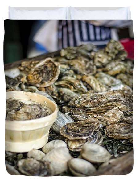Oysters at the Market Duvet Cover by Heather Applegate