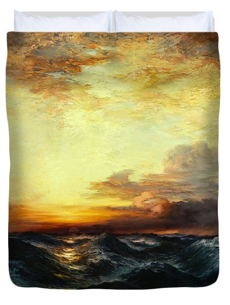 Pacific Sunset Duvet Cover by Thomas Moran