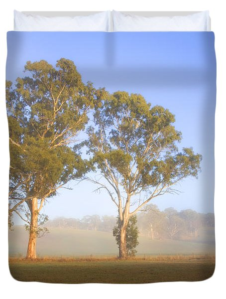 Paddock Sunrise Duvet Cover by Mike  Dawson