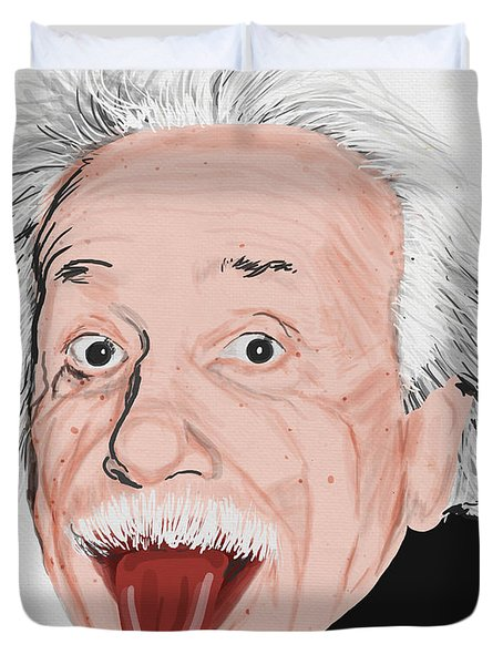 Painting Of Albert Einstein Duvet Cover by Setsiri Silapasuwanchai