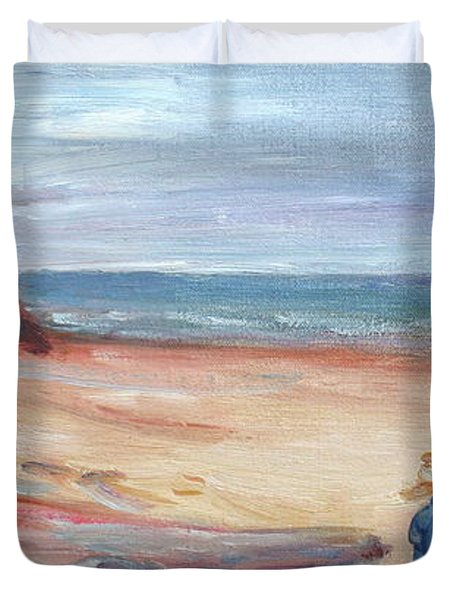 Painting The Coast - Scenic Landscape With Figure Duvet Cover by Quin Sweetman