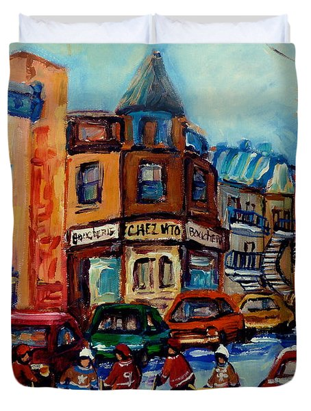 Paintings Of Montreal Hockey On Fairmount Street Duvet Cover by Carole Spandau