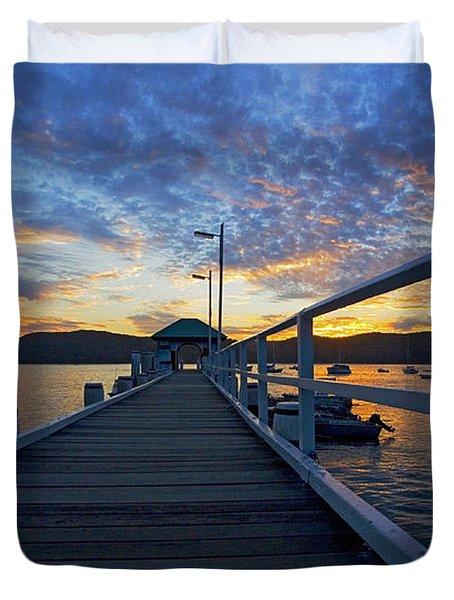 Palm Beach wharf at dusk Duvet Cover by Sheila Smart