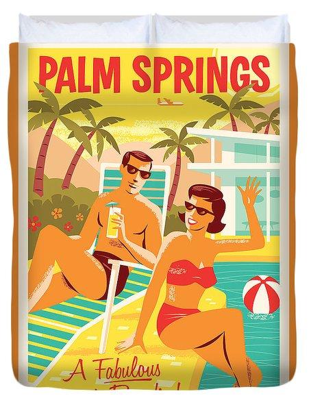 Palm Springs Retro Travel Poster Duvet Cover by Jim Zahniser