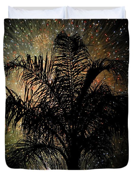 Palm Tree Fireworks Duvet Cover by David Lee Thompson