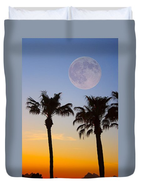 Palm Tree Full Moon Sunset Duvet Cover by James BO  Insogna