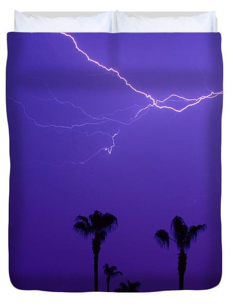 Palm Trees And Spider Lightning Striking Duvet Cover by James BO  Insogna