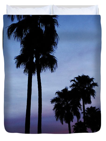 Palm Trees At Sunset Duvet Cover by Jill Reger
