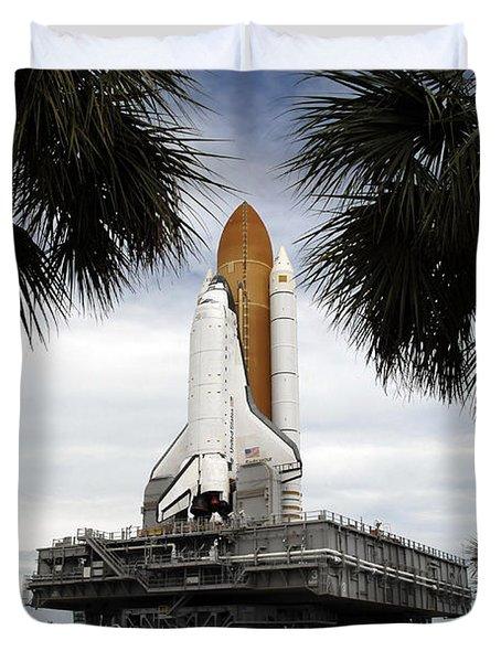 Palmetto Trees Frame Space Shuttle Duvet Cover by Stocktrek Images