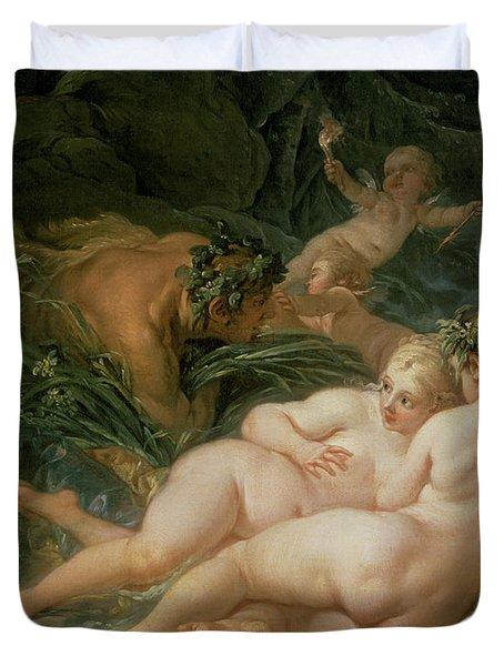 Pan And Syrinx Duvet Cover by Francois Boucher