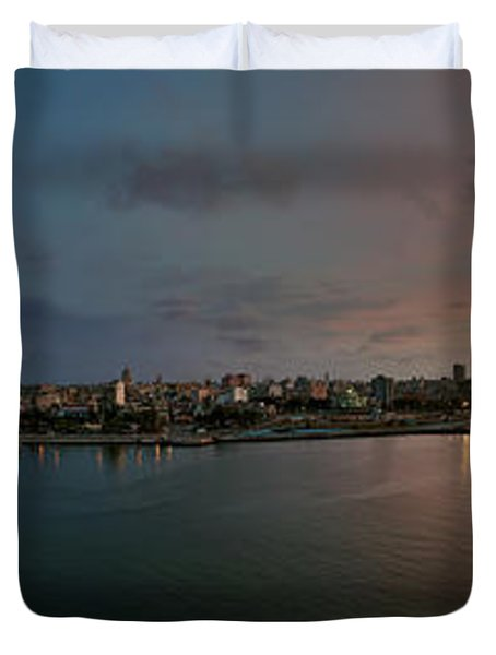 Panoramic view of Havana from La Cabana. Cuba Duvet Cover by Juan Carlos Ferro Duque