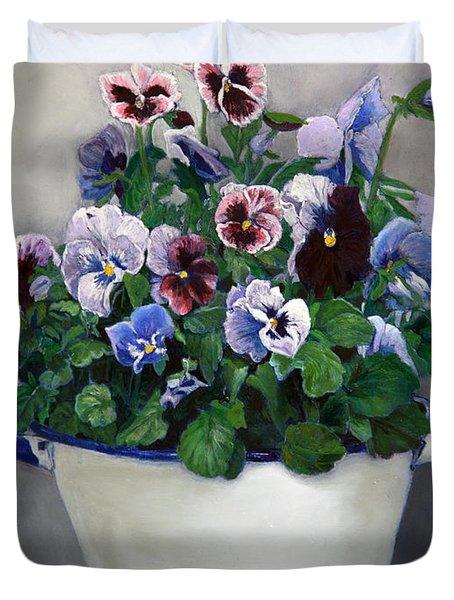 Pansies Duvet Cover by Enzie Shahmiri