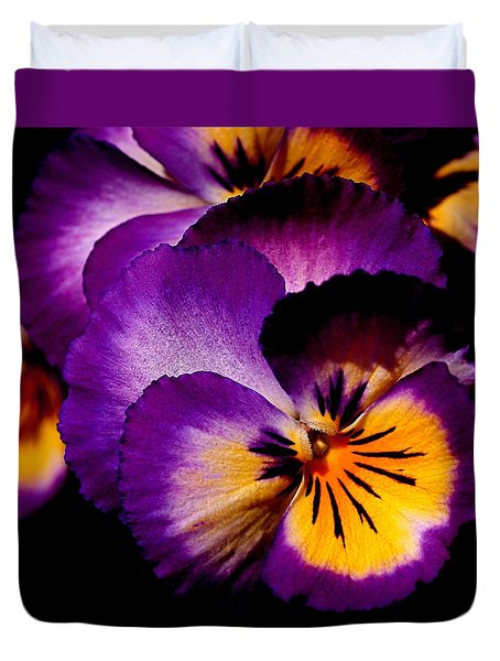 Pansies Duvet Cover by Rona Black