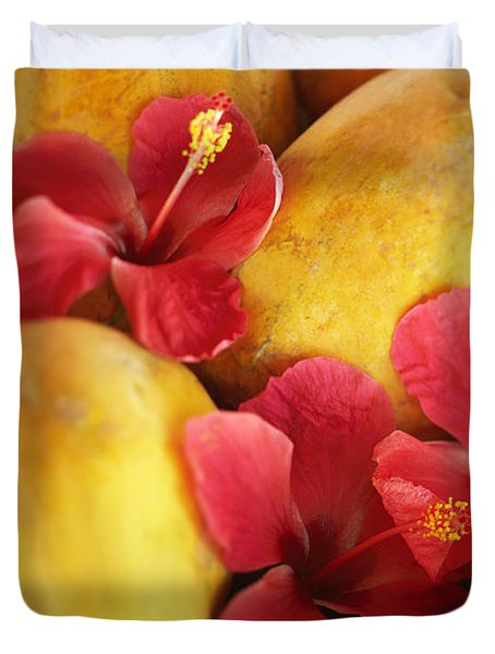 Papaya Fruit And Hibiscus Duvet Cover by Kyle Rothenborg - Printscapes