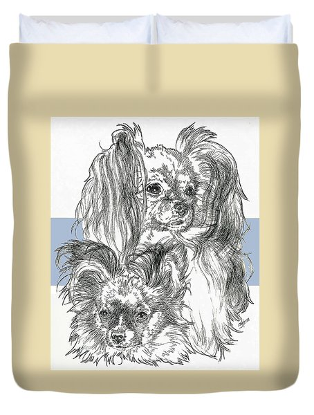 Papillon Father And Son Duvet Cover by Barbara Keith