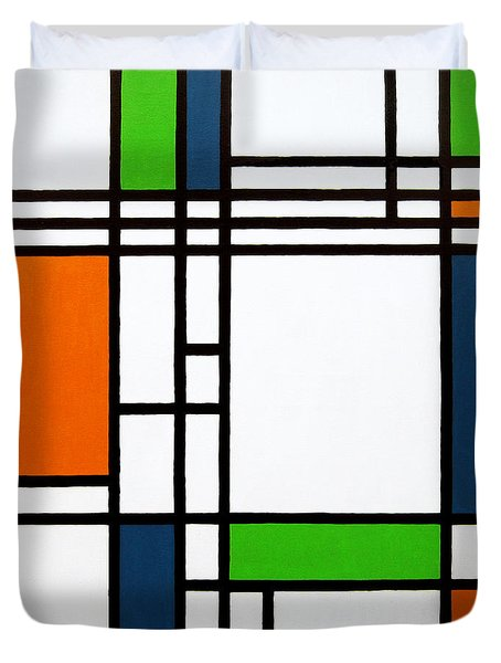 Parallel Lines Composition with Blue Green and Orange in Opposition Duvet Cover by Oliver Johnston