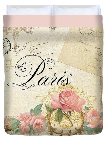 Parchment Paris - Timeless Romance Duvet Cover by Audrey Jeanne Roberts