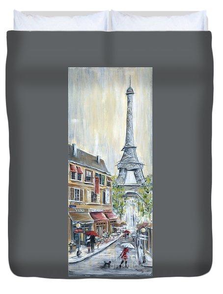 Poodle In Paris Duvet Cover by Marilyn Dunlap