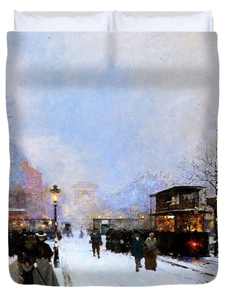 Paris In Winter Duvet Cover by Luigi Loir