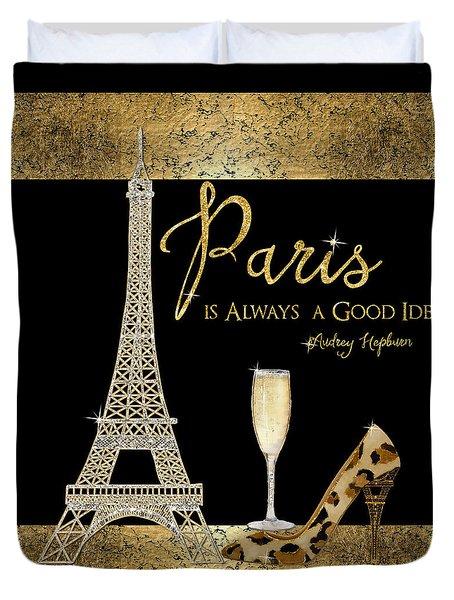 Paris Is Always A Good Idea - Audrey Hepburn Duvet Cover by Audrey Jeanne Roberts