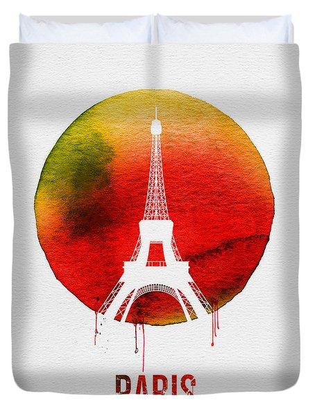 Paris Landmark Red Duvet Cover by Naxart Studio