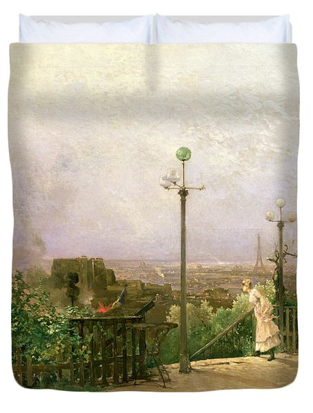 Paris Seen From The Heights Of Montmartre Duvet Cover by Jean dAlheim