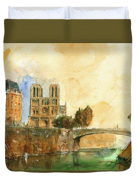 Paris Watercolor Duvet Cover by Juan  Bosco