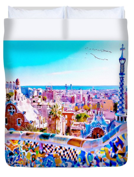 Park Guell Watercolor Painting Duvet Cover by Marian Voicu