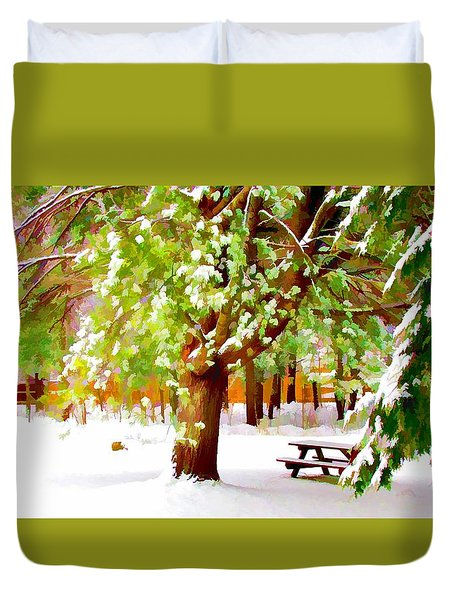 Park In Winter Duvet Cover by Lanjee Chee