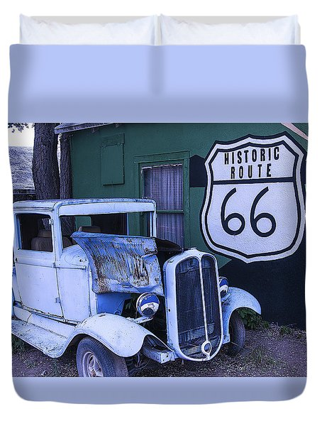 Parked Blue Truck Duvet Cover by Garry Gay