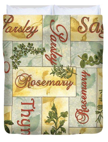 Parsley Collage Duvet Cover by Debbie DeWitt