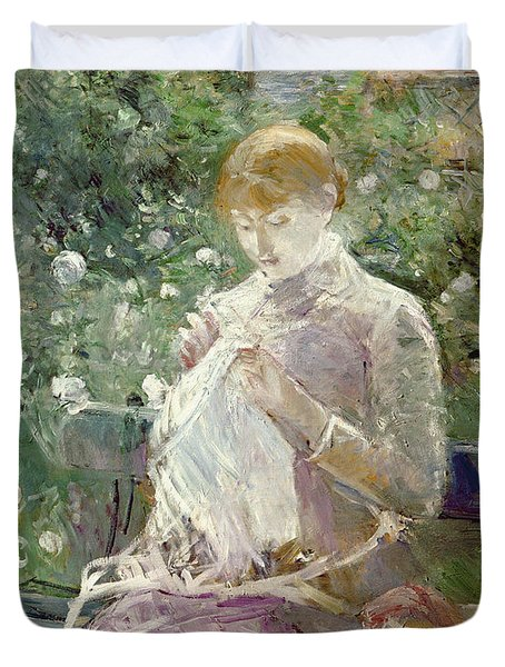 Pasie Sewing In Bougivals Garden Duvet Cover by Berthe Morisot