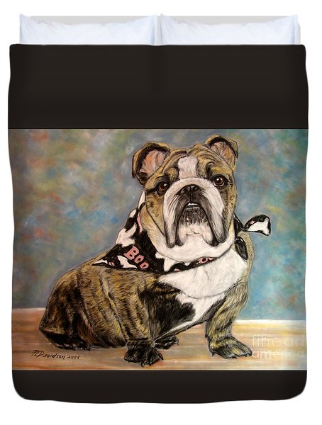 Pastel English Brindle Bull Dog Duvet Cover by Patricia L Davidson