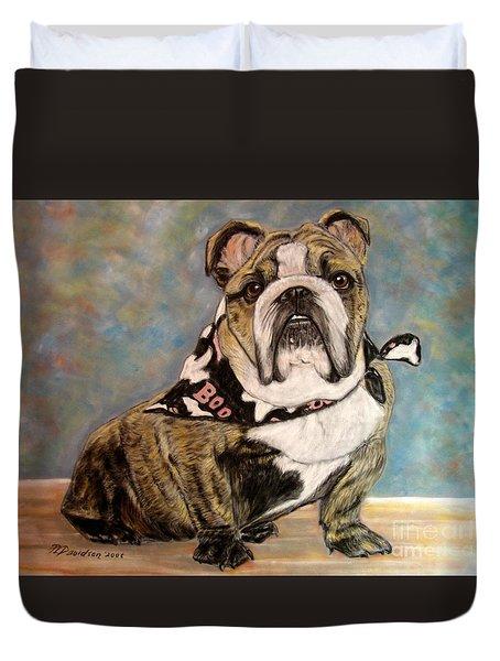 Pastel English Brindle Bull Dog Duvet Cover by Patricia L Davidson