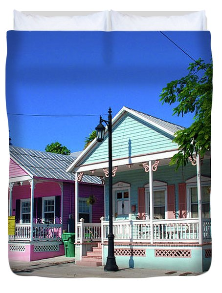 Pastels Of Key West Duvet Cover by Susanne Van Hulst