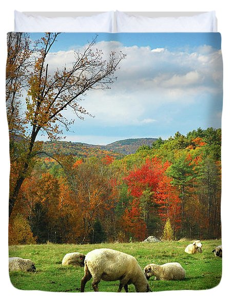 Pasture - New England Fall Landscape Sheep Duvet Cover by Jon Holiday