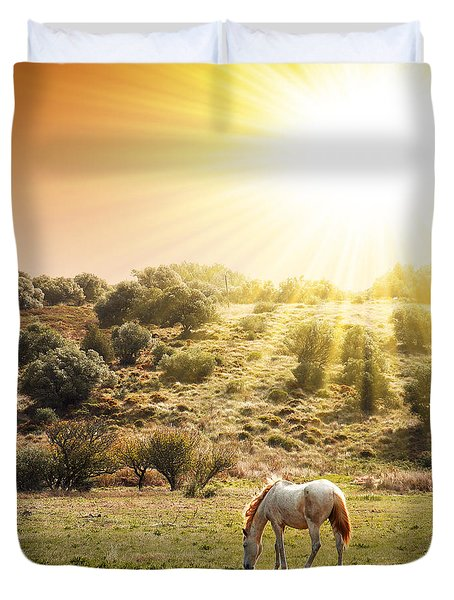 Pasturing Horse Duvet Cover by Carlos Caetano