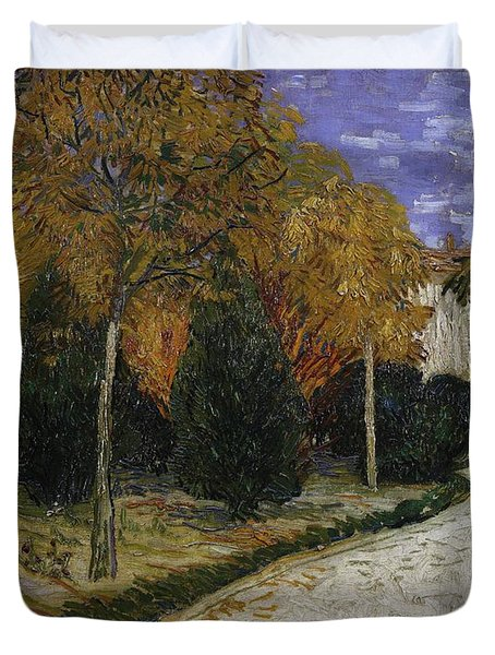 Path In The Park At Arles Duvet Cover by Vincent Van Gogh