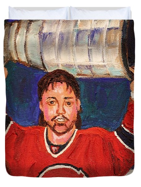 Patrick Roy Wins The Stanley Cup Duvet Cover by Carole Spandau